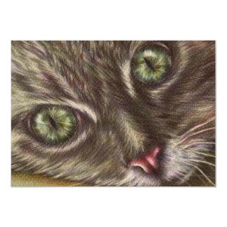 "Drawing of Cat Close Up on Invitation 5"" X 7"" Invitation Card"