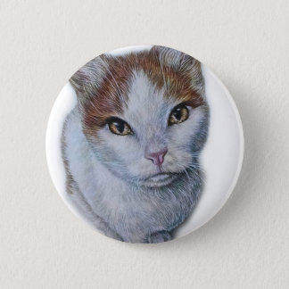 Drawing of Cat White and Orange Button