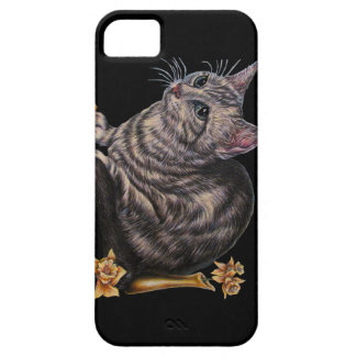 Drawing of Cat with Daffodils iPhone / iPad case