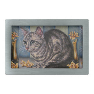Drawing of Cat with Daffodils on Belt Buckle