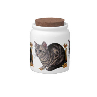 Drawing of Cat with Daffodils on Candy Jar
