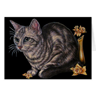 Drawing of Cat with Daffodils on Card