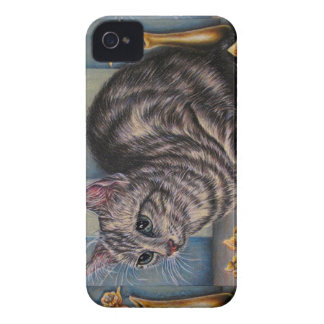 Drawing of Cat with Daffodils on iPhone / iPad cas Case-Mate iPhone 4 Cases