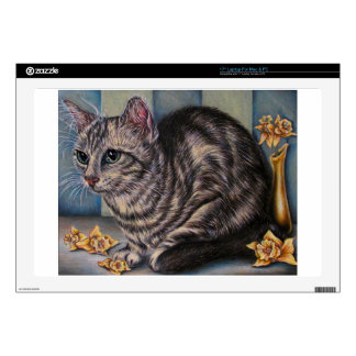 Drawing of Cat with Daffodils on  Protection Skin Laptop Skins