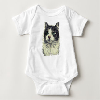 Drawing of Cat with Green Eyes on Baby Shirt