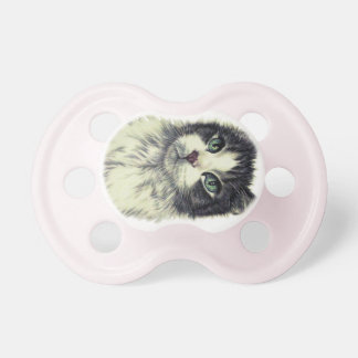 Drawing of Cat with Green Eyes on Pacifier