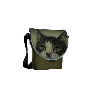 Drawing of Cat with Red Nose on Messenger Messenger Bag