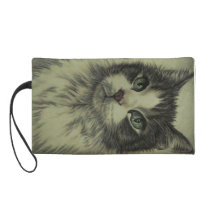 Drawing of Cat with Red Nose on Wristlet