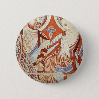 Drawing of Central Asian Buddhist Monks Button