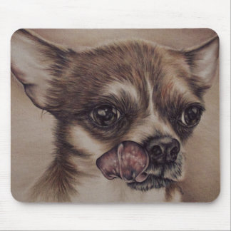Drawing of chihuahua on mousepad
