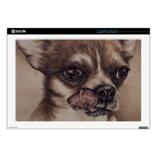 """Drawing of Chihuahua on skin for Mac & PC 17"""" Laptop Skin"""