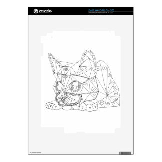 Drawing of Colorable Cat for Coloring iPad 2 Decal