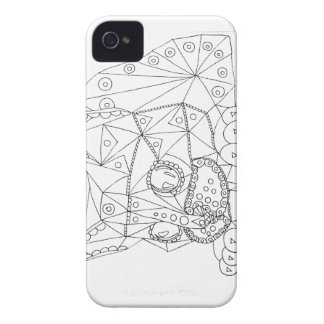 Drawing of Colorable Cat for Coloring iPhone 4 Case-Mate Case