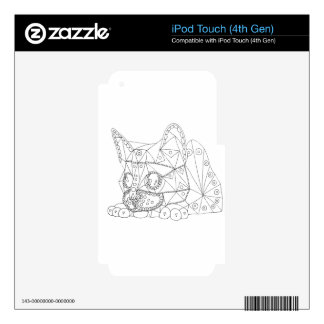 Drawing of Colorable Cat for Coloring Skin For iPod Touch 4G