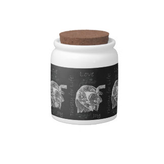 Drawing of Dog Drinking in Chalk Candy Jar