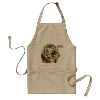 Drawing of Dog Drinking on Apron