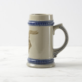 Drawing of Dog Drinking on Stein 18 Oz Beer Stein