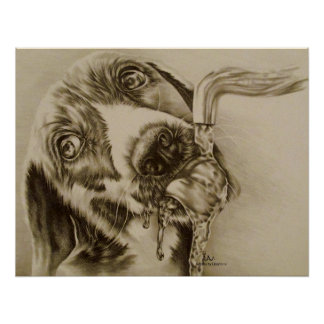 Drawing of Dog Drinking Poster