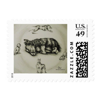 Drawing of Dog Sleeping with Toy on Stamp