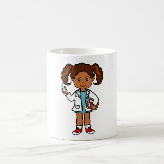 Drawing of Girl Doctor with Needle and Clipboard Coffee Mug