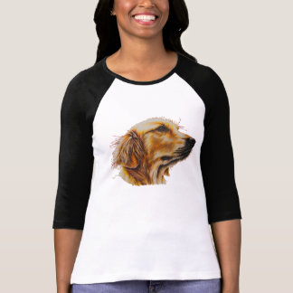 Drawing of Golden Retriever on 3/4 Sleeve T-shirt