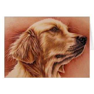 Drawing of Golden Retriever on Card