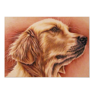 Drawing of Golden Retriever on Invite