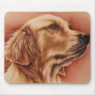 Drawing of Golden Retriever on Mouse Pad