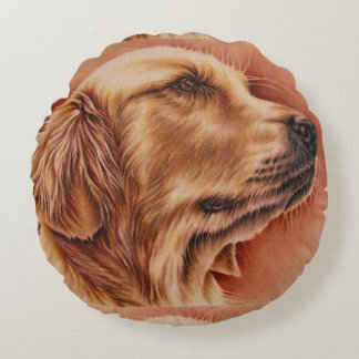 Drawing of Golden Retriever on Pillow