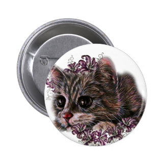 Drawing of Gray Kitten as Cat with Lilies Pinback Button