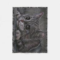 Drawing of Grey Kitten on Blanket Fleece Blanket