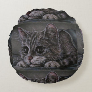 Drawing of Grey Kitten on Pillow