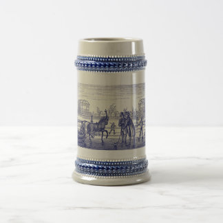 Drawing of historical Dutch scene 18 Oz Beer Stein