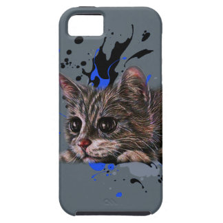 Drawing of Kitten as Cat with Paint Art iPhone SE/5/5s Case