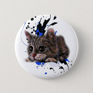 Drawing of Kitten as Cat with Paint Art Pinback Button