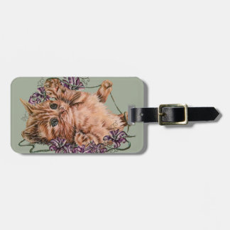 Drawing of Kitten as Cat with String and Lilies Luggage Tag