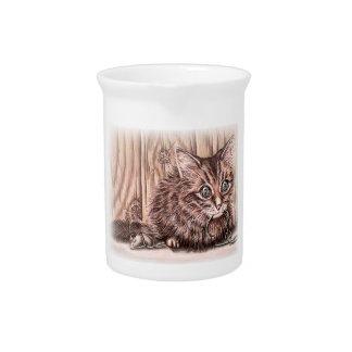 Drawing of Kitten Cute Pet Portrait Cat Drink Pitcher