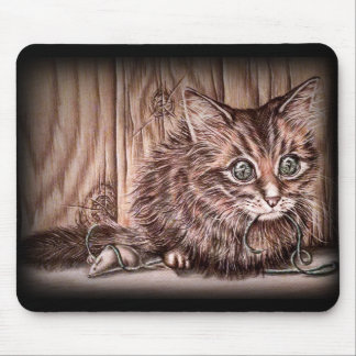 Drawing of Kitten Cute Pet Portrait Cat Mouse Pad