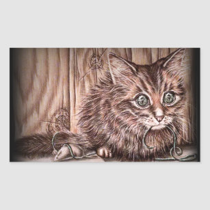 Drawing Of Kitten Cute Pet Portrait Cat Rectangular Sticker