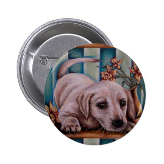 Drawing of Labrador with Daffodils on Blue Pinback Buttons