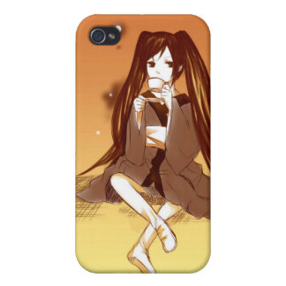 Drawing of manga girl having tea Iphone 4 case