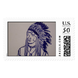 Drawing of Native American chief Postage