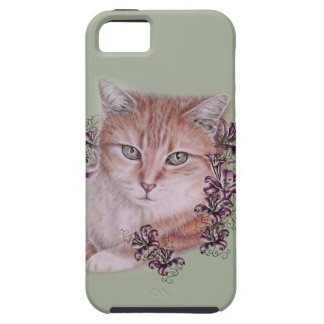 Drawing of Orange Tabby Cat and Lilies Flowers iPhone SE/5/5s Case