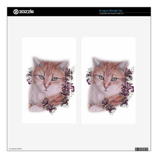 Drawing of Orange Tabby Cat and Lilies Flowers Kindle Fire Skins