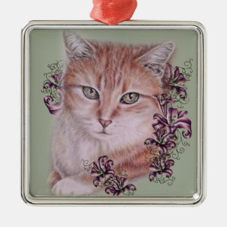 Drawing of Orange Tabby Cat and Lilies Flowers Metal Ornament