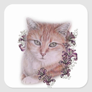 Drawing of Orange Tabby Cat and Lilies Flowers Square Sticker