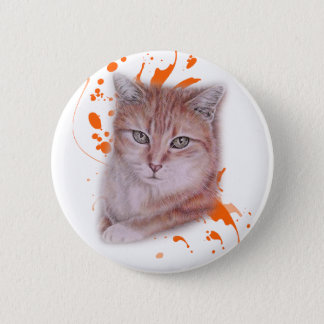 Drawing of Orange Tabby Cat and Paint Button