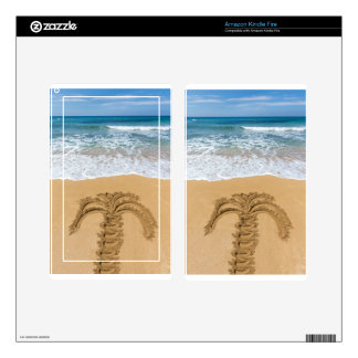 Drawing of palm tree on sandy beach kindle fire skin