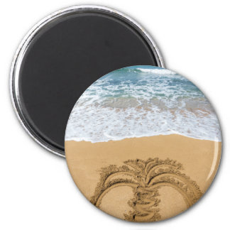 Drawing of palm tree on sandy beach magnet