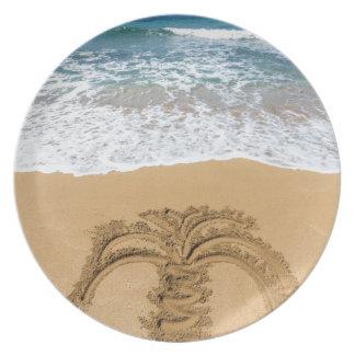 Drawing of palm tree on sandy beach melamine plate